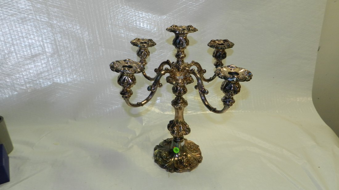 707: HEAVY SILVER PLATED CANDELABRA