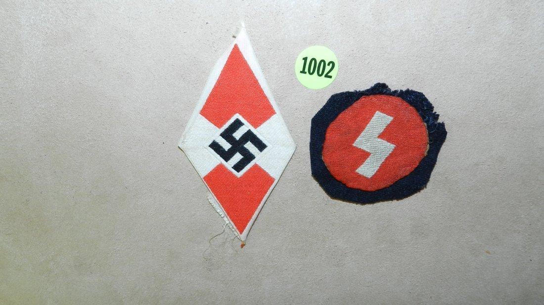 1002: 2 piece WWII Nazi German Hitler youth uniform pat