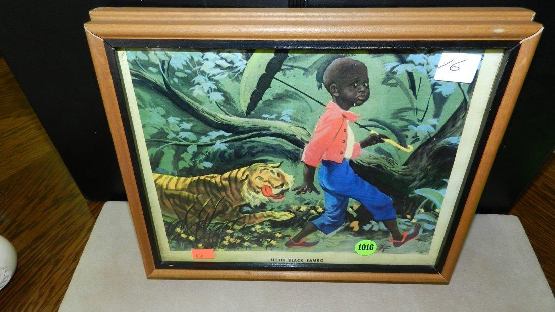 1016: vintage framed little black Sambo print