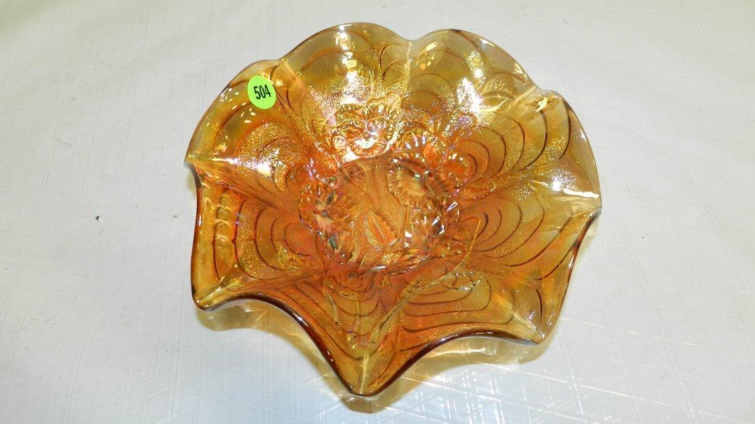 504: vintage carnival glass dish floral