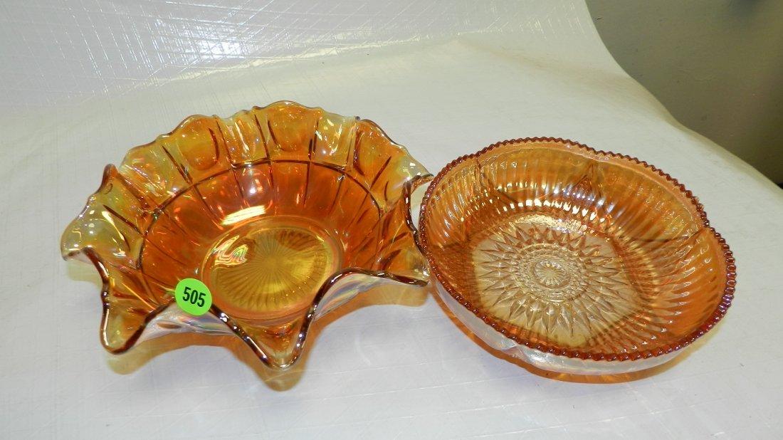505: 2 piece vintage carnival glass dish
