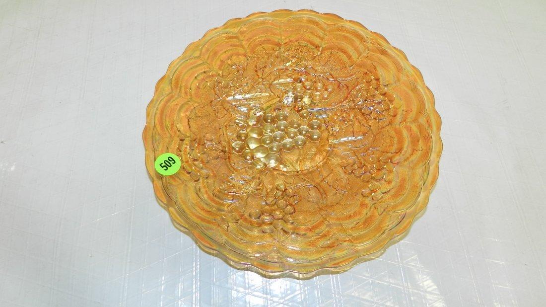 509: carnival glass bowl, grapes