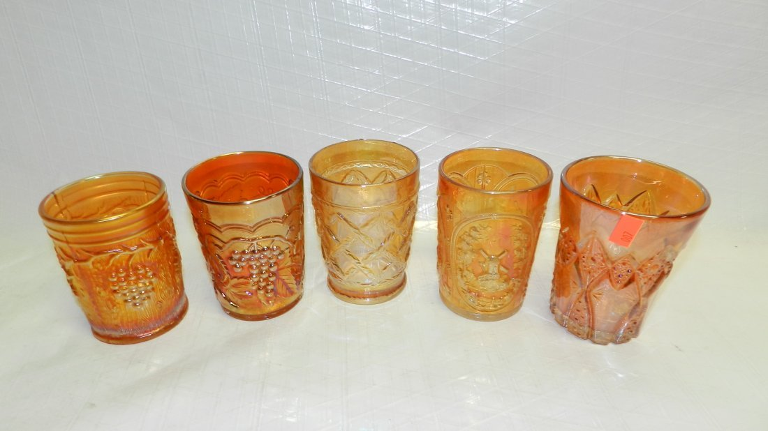 518: 5 piece carnival glass tumblers various patterns