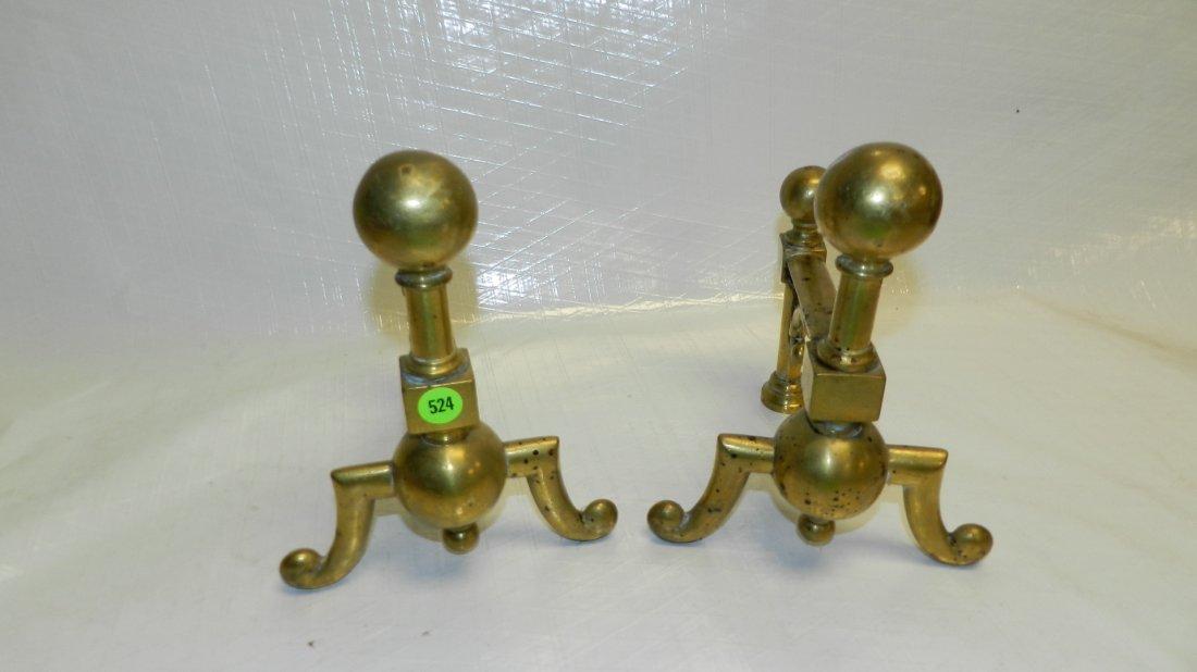 524: 2 piece small brass andirons