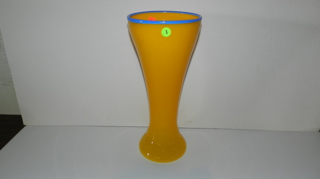 1: nice mid century tall art glass vase