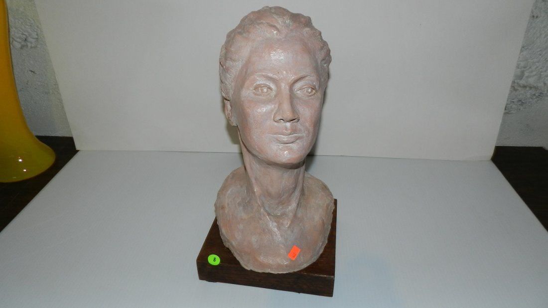 8: nice mid century sculpture, bust of young woman on s