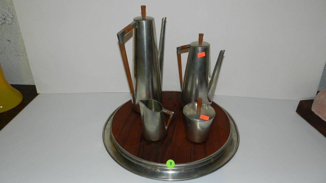 9: Eames era Royal Holland KMD Pewter & rosewood tea se