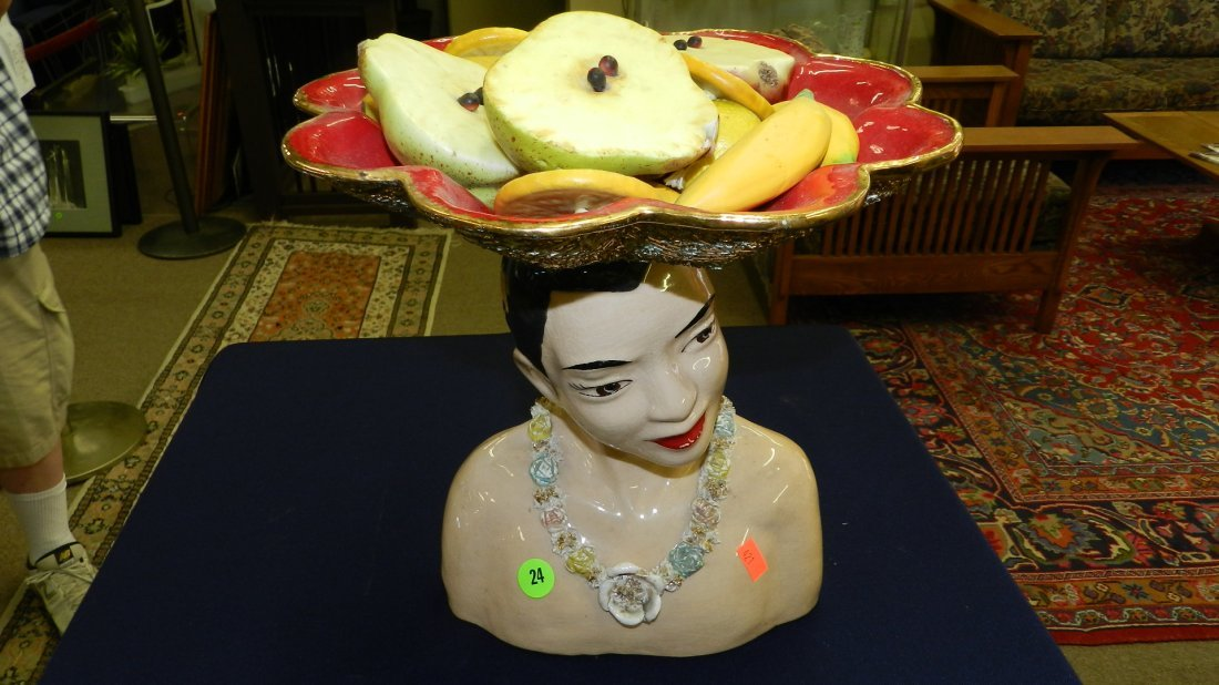 24: rare mid century Hawaiian bisque native figure frui