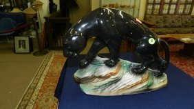Mid Century Porcelain Black Panther On Rocks T.V. N