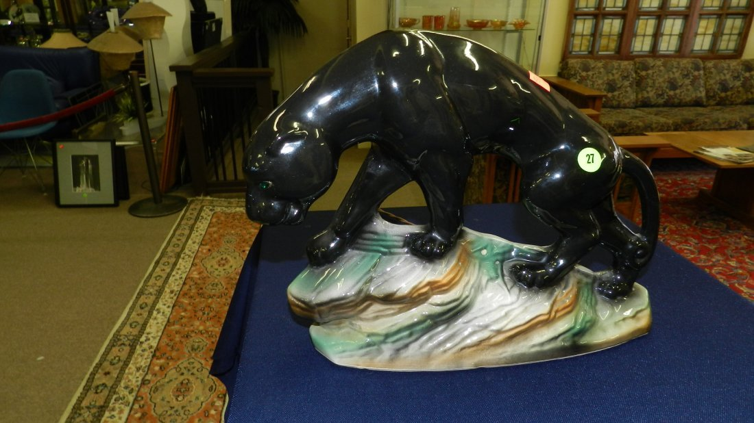 27: mid century porcelain black panther on rocks T.V. n