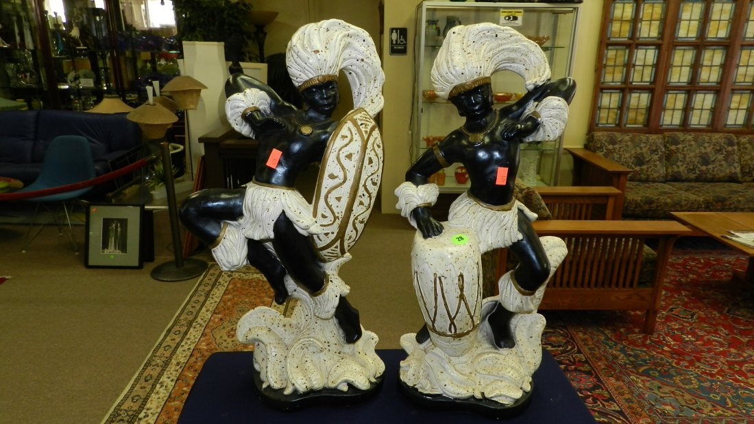 28: 2 piece mid century Hawaiian? dancers, figurines