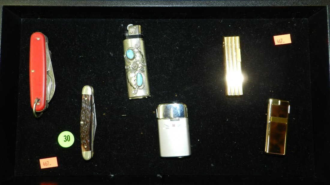 30: collection of mid century knives & lighters