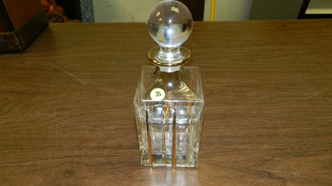 35: mid century glass decanter with gld trim paint
