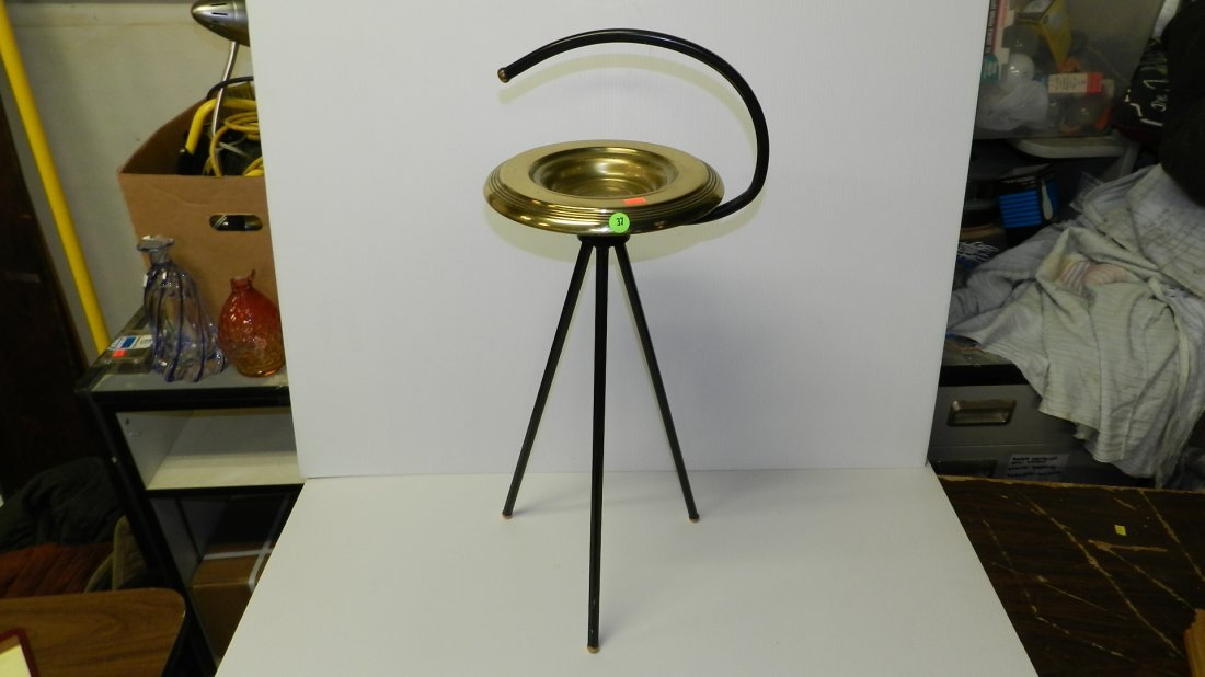 37: mid century black and brass floor model ashtray