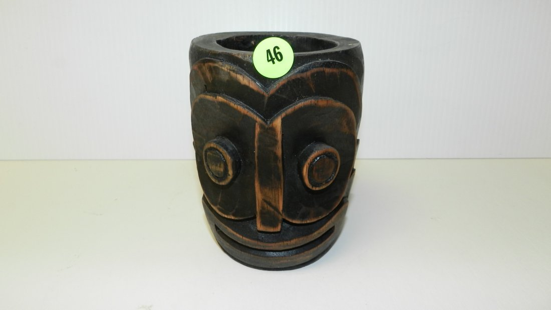 46: mid century carved Hawaiian face mug