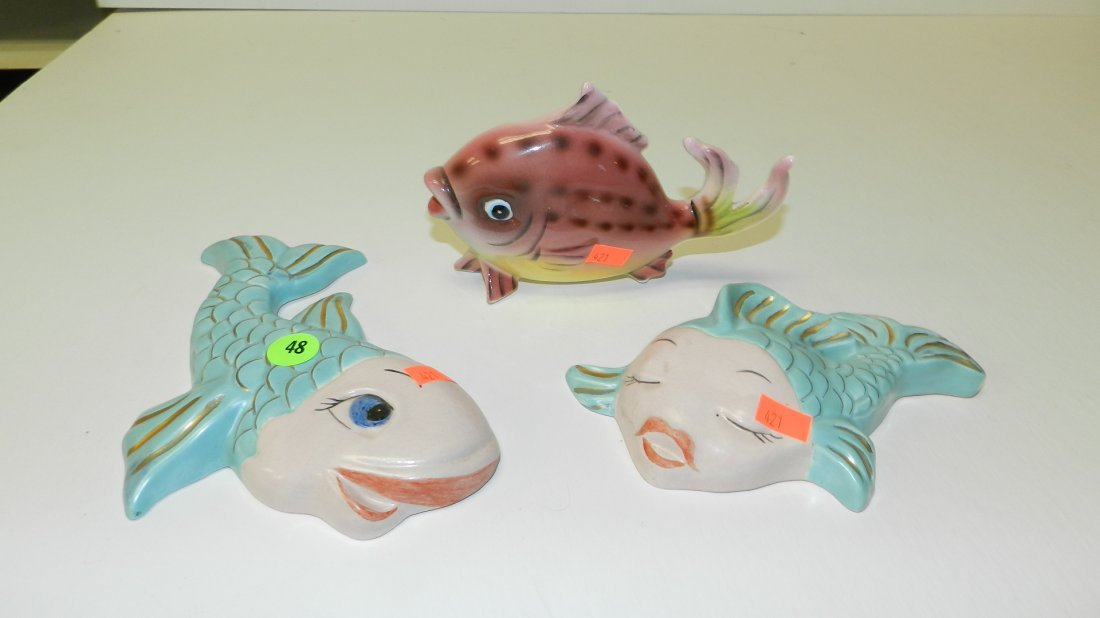 48: 3 piece mid century fish displays