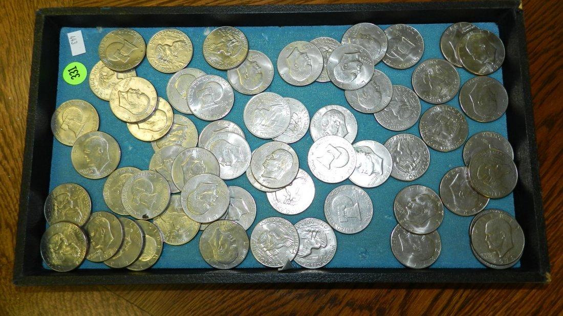 331: tray of US Ike dollars (no tray)