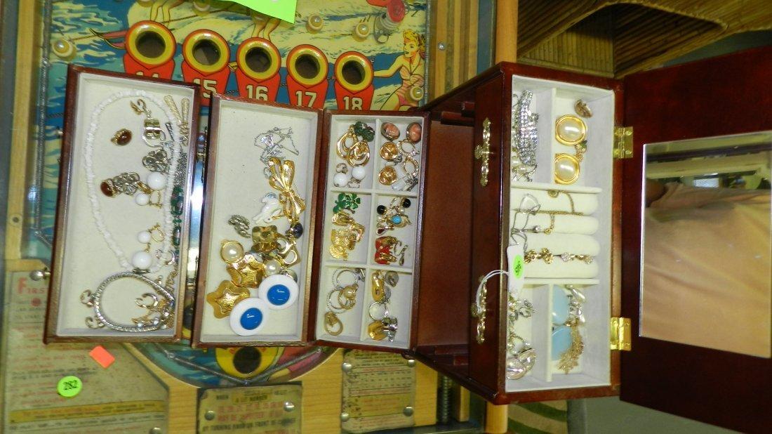 345: mid century estate jewelry box full of jewelry