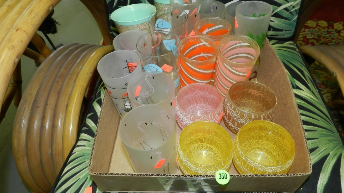 350: box of mid century glasses