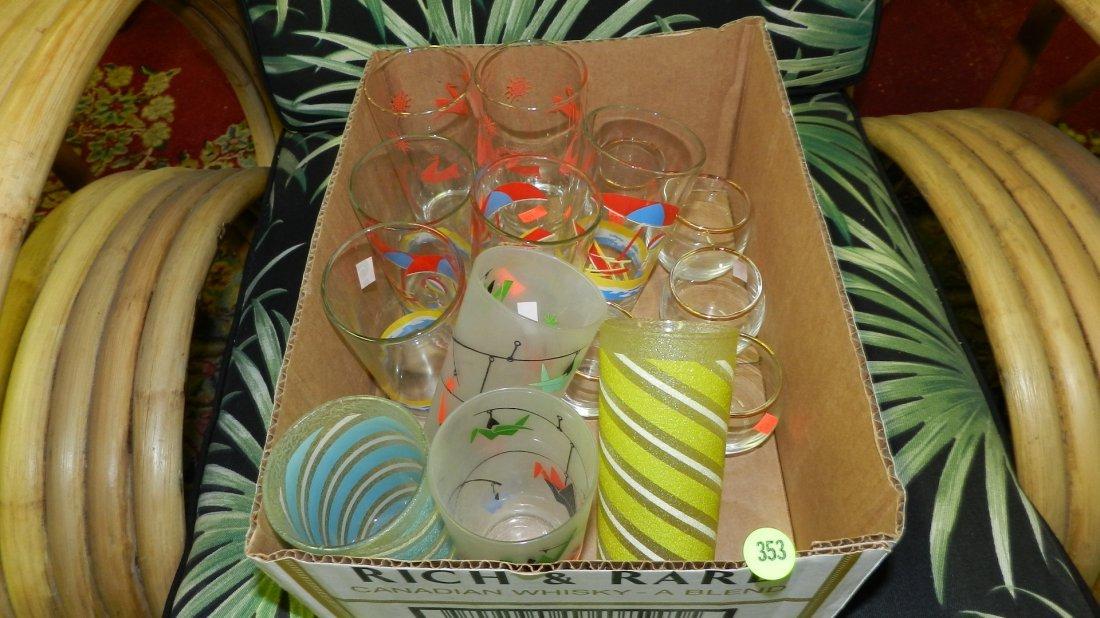 353: box of mid century glasses