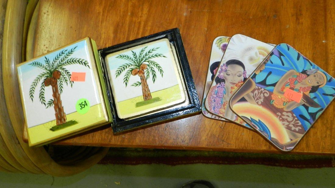 354: group of Hawaiian style coasters