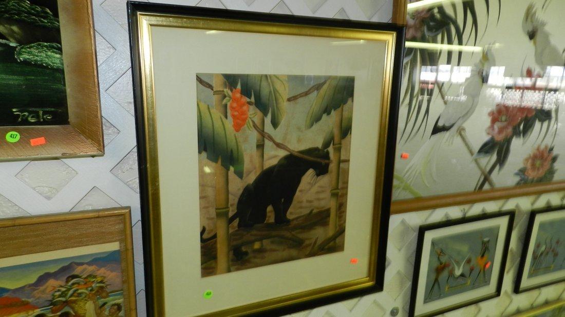 419: wonderful signed mid century Hawaiian watercolor o