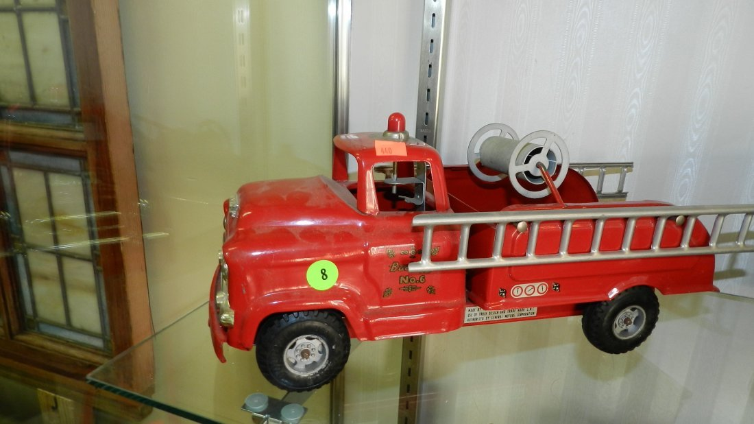 8: vintage Buddy L toy fire truck for GMC