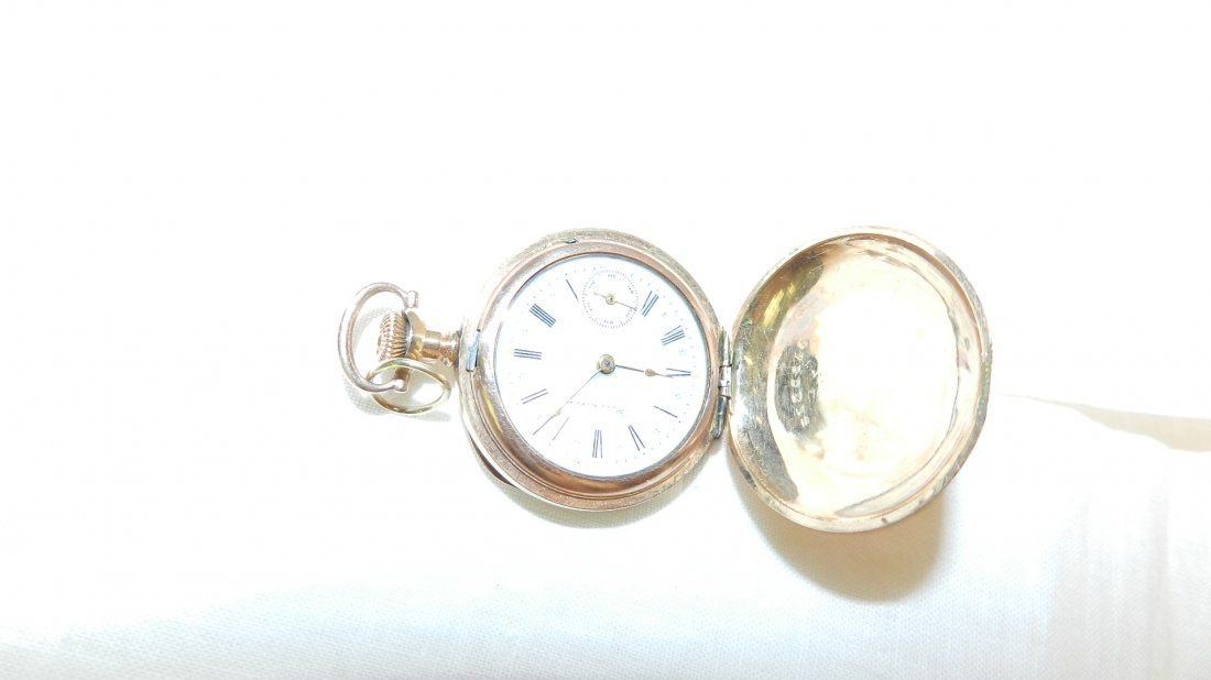 14: antique gold plated pocket watch