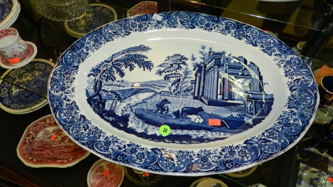 16: nice vintage blue and white platter