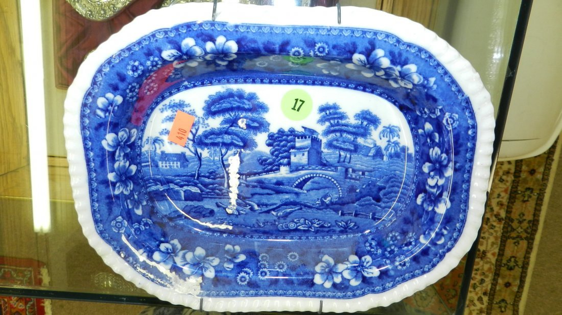 17: original blue and white Spodes Tower dish Asparagus