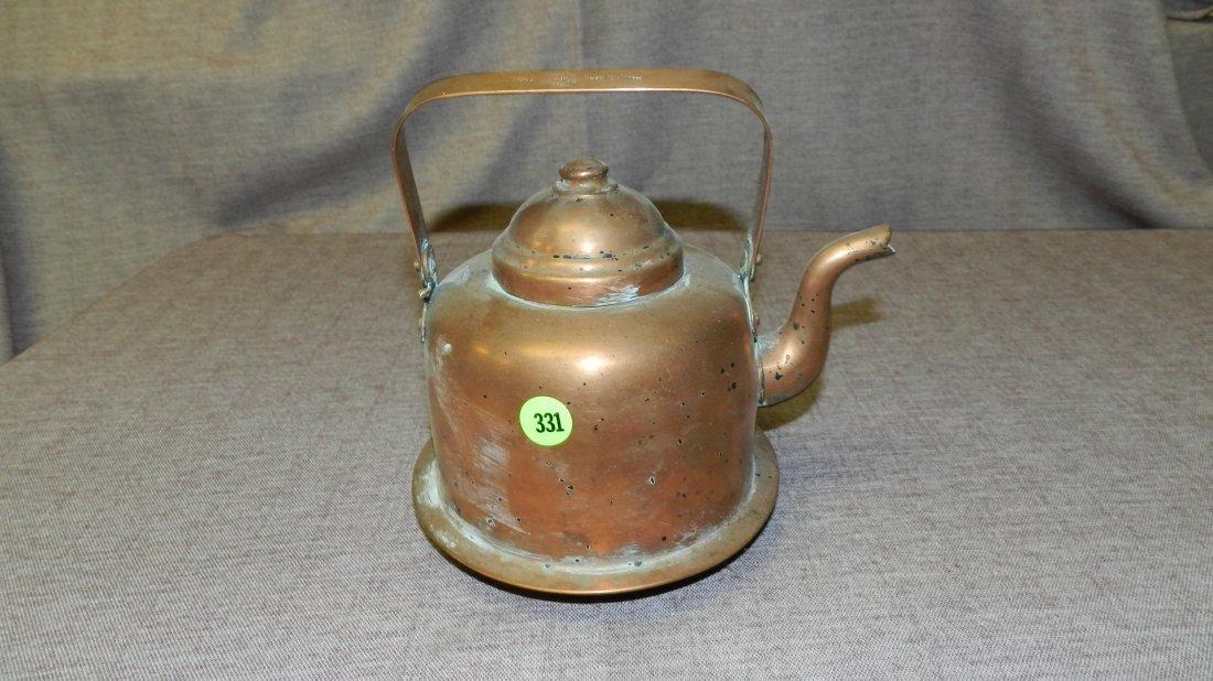 331: vintage copper wash tea pot