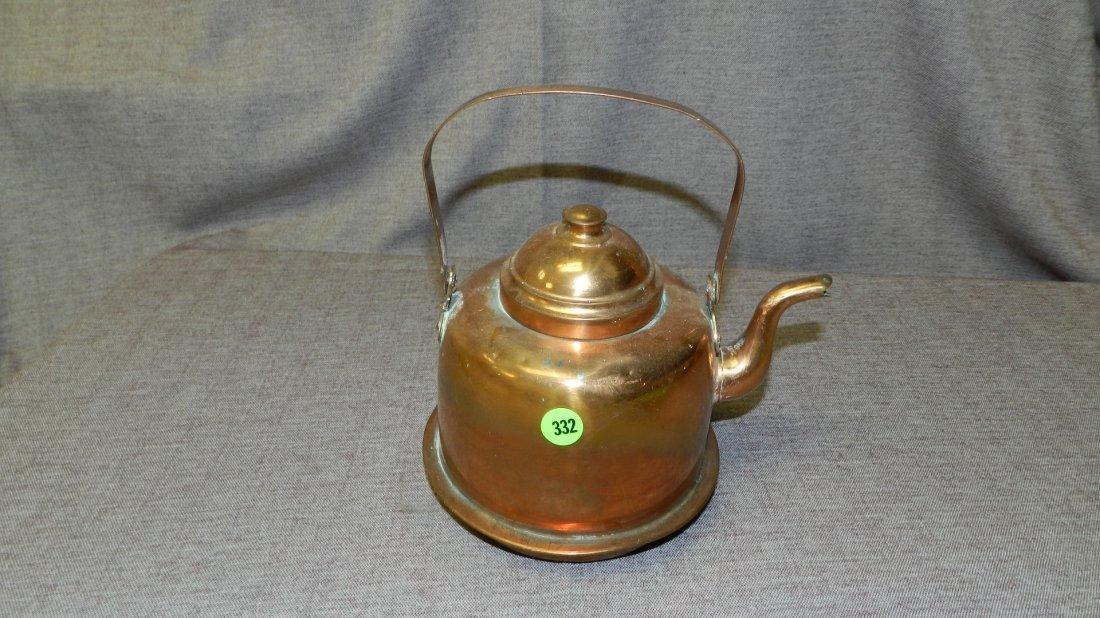 332: vintage copper wash tea pot