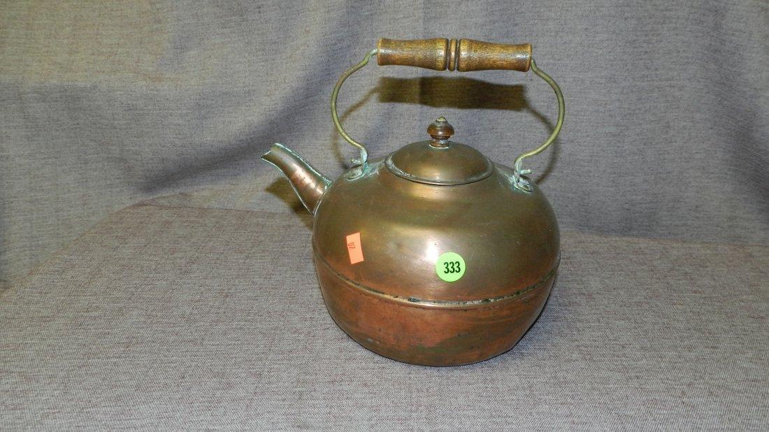 333: vintage copper wash tea pot