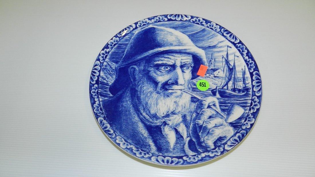 451: Blue Delft Sea captain plate