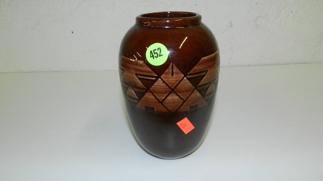 452: Brown Native American style vase, signed