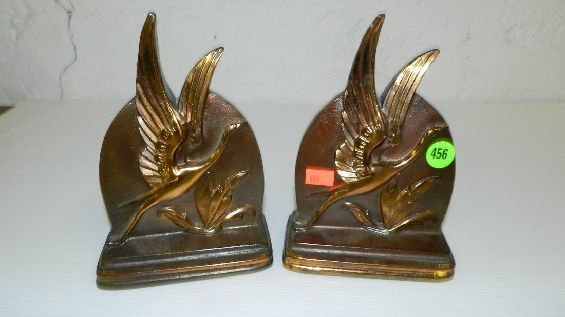 456: Pair bronze bird bookends art deco style