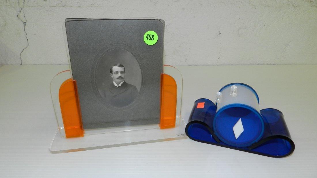 458: Pair mid century deco photo holder and dresser ite