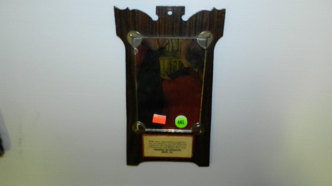 461: Advertising hanging Mirror on Wooden back (Fredoni