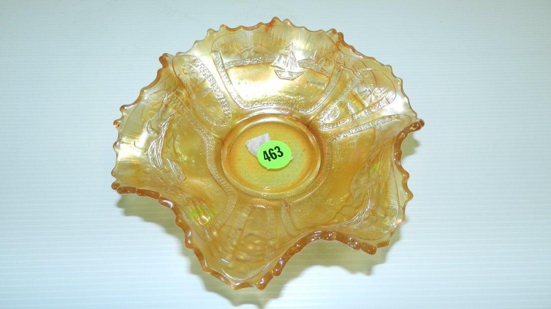 463: Carnival glass bowl with sailboat scene