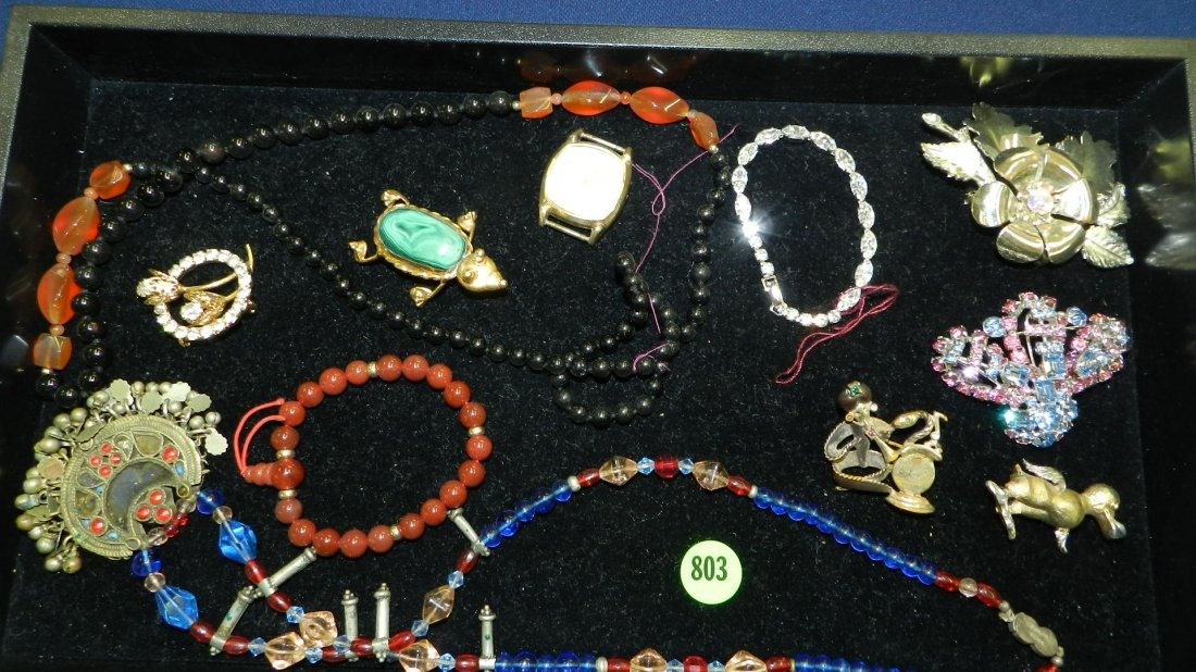 803: nice tray of estate jewelry (no tray)