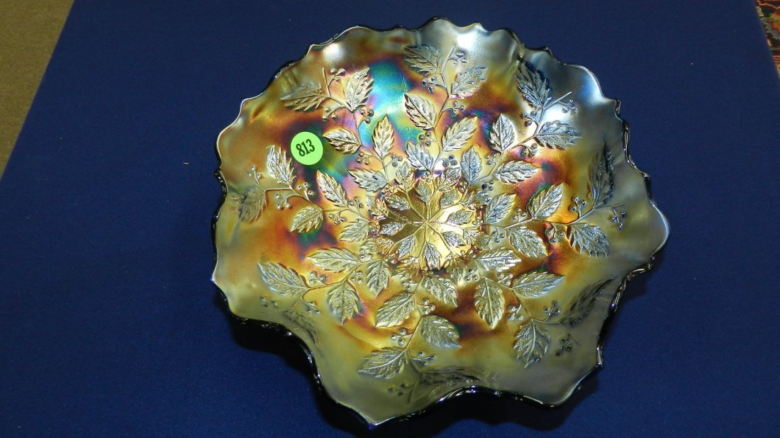 813: vintage carnival glass Holly dish