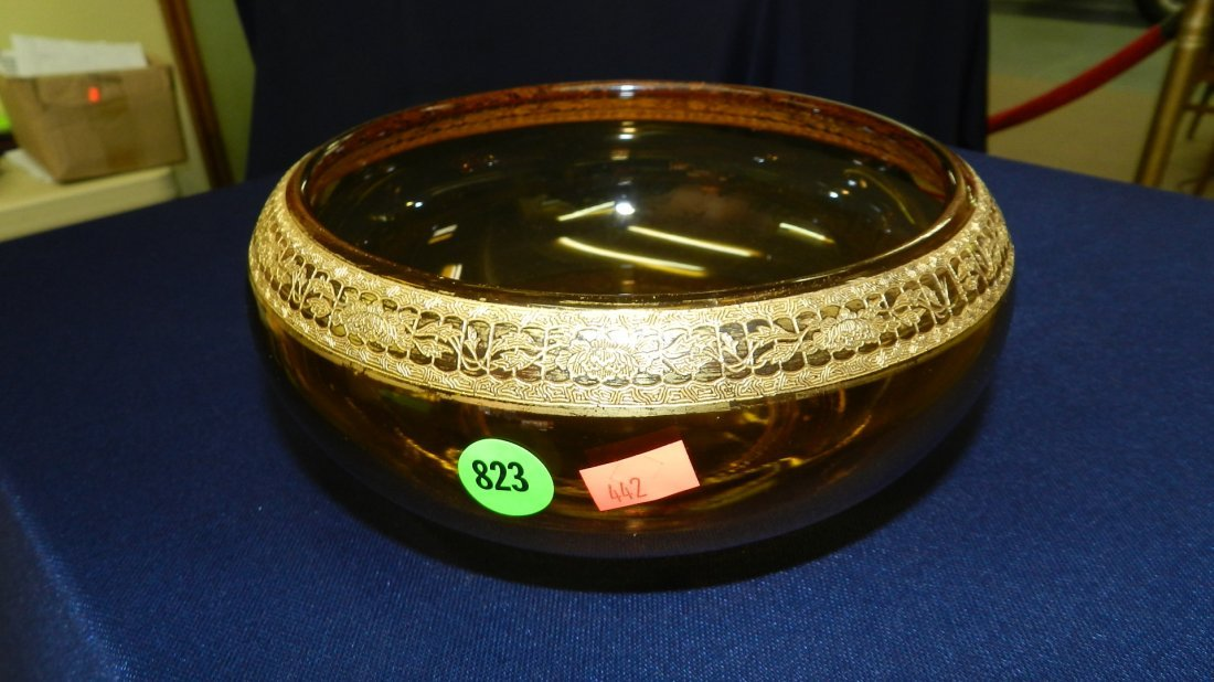 823: gold etched rimed amber glass concole bowl