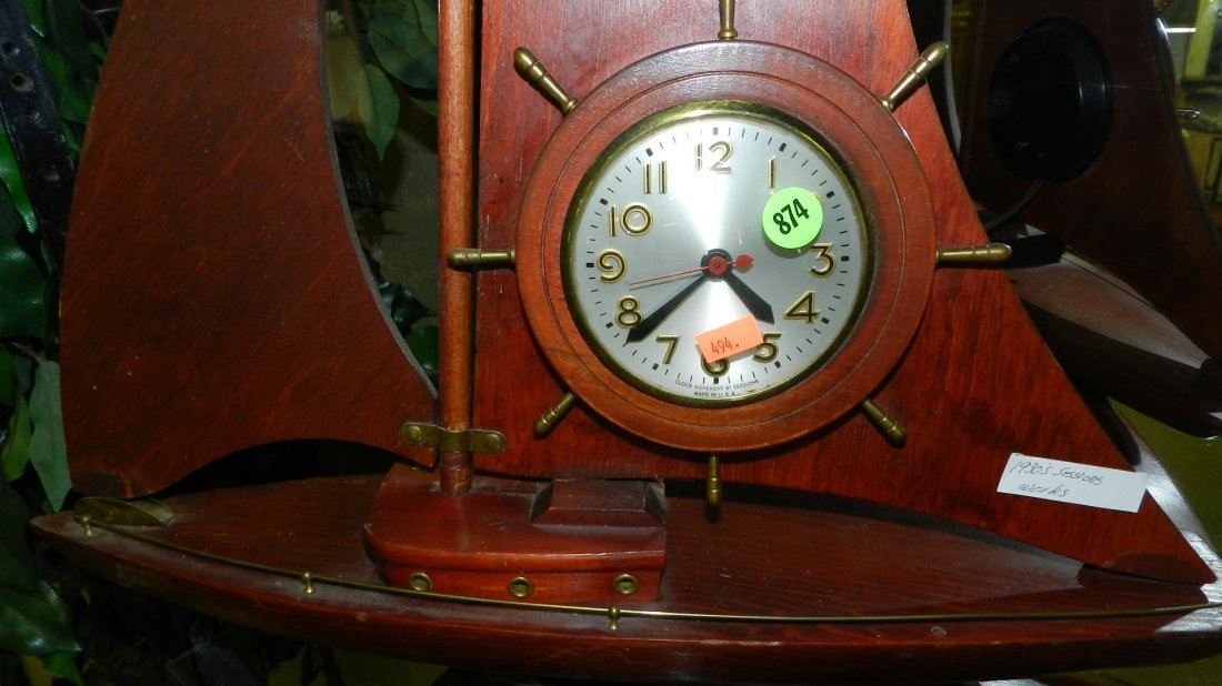 874: vintage wood sailboat clock - 2
