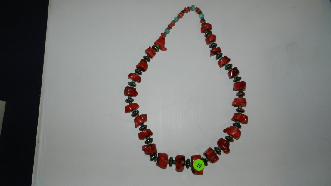 19: nice Turquoise and coral necklace