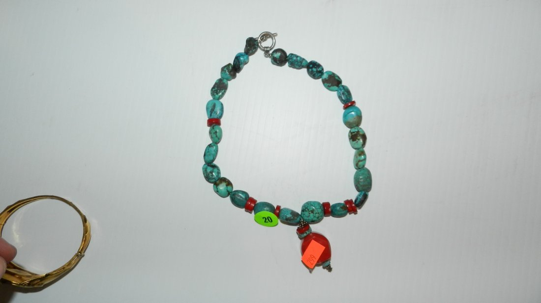 20: nice Turquoise and coral necklace