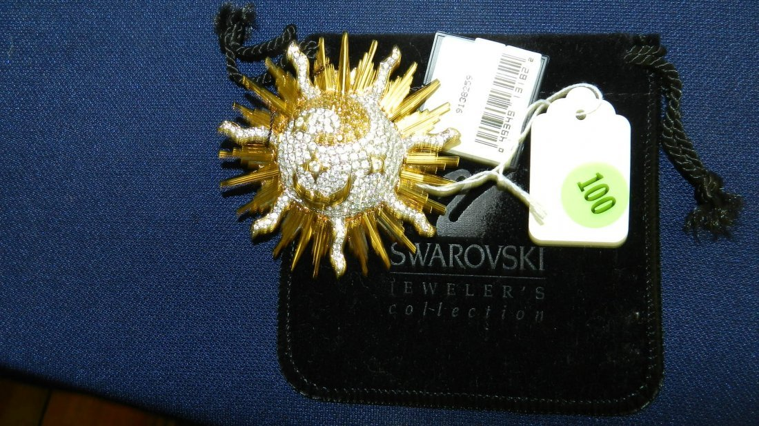100: wonderful Swarovski crystal brooch with tags from