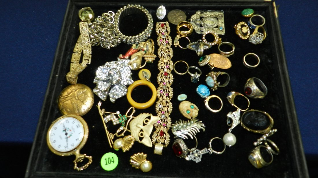 104: great tray of estate jewelry .no tray
