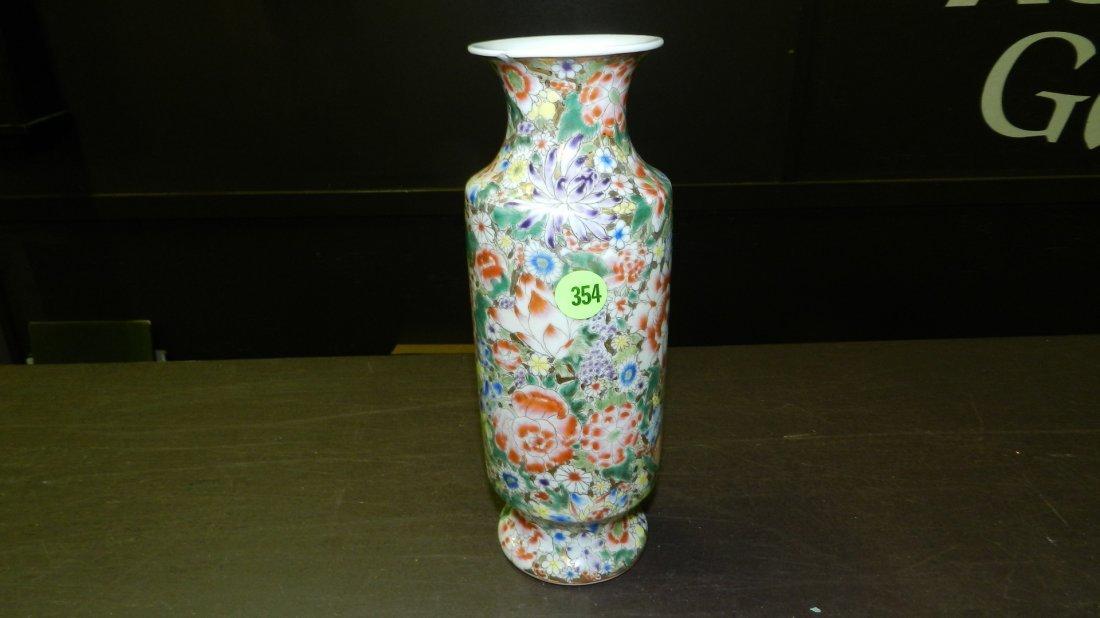 354: Chinese Famille Rose Millefleur vintage vase, nice