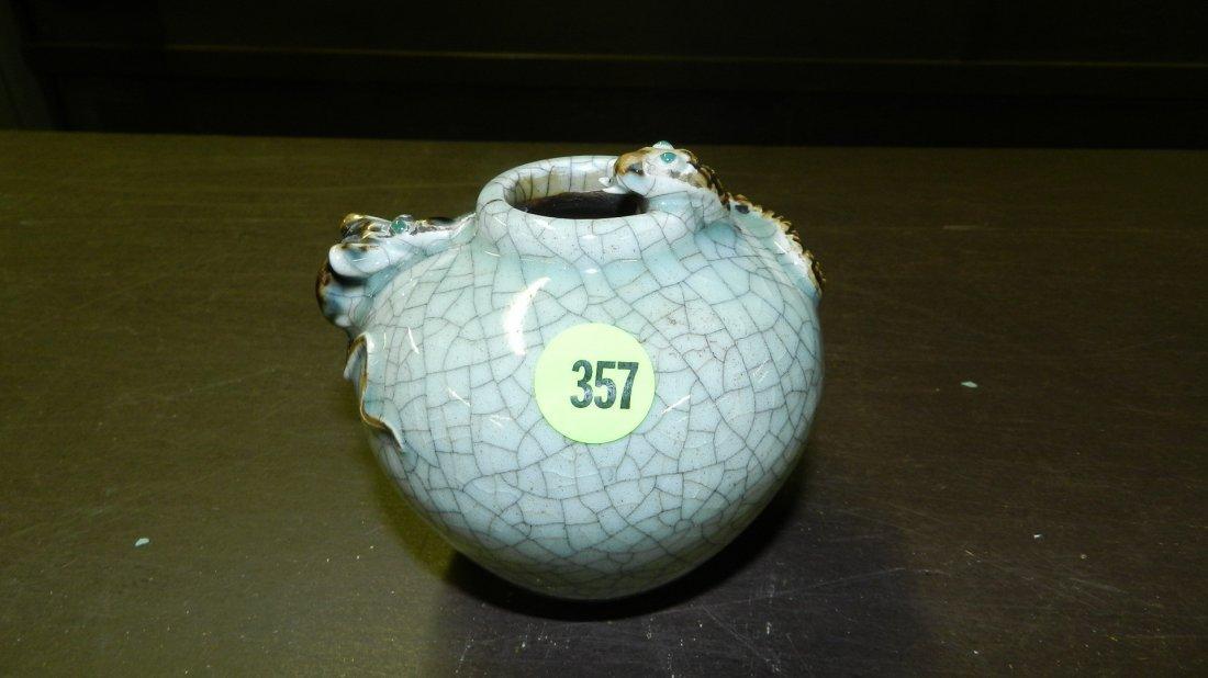 357: Chinese Celadon crackleware jar, celadon crackle g