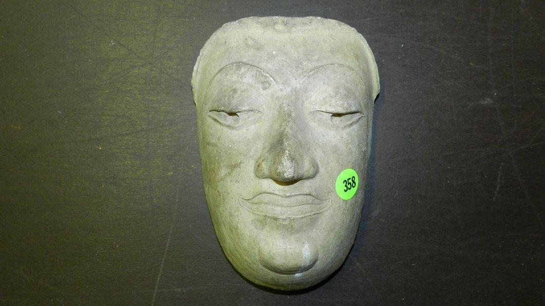 358: Chinese molded stone? face of Buddha 7 x 5 1/2